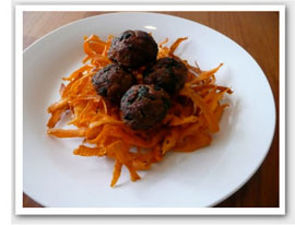 Meatballs with Crunchy Sweet Potato Chips